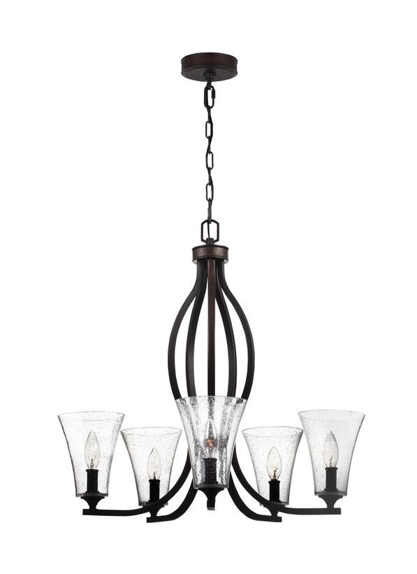 The transitional Marteau lighting collection by Feiss takes a flowing silhouette and transforms it with rustic, mountain luxe design elements. With an Oil Rubbed Bronze finish, a hammered metal inlay along the sloping arms of the chandelier and canopy adds rich texture and catches the light. The Clear Seeded glass shades expose candelabra bulbs and add to its relaxed charm.