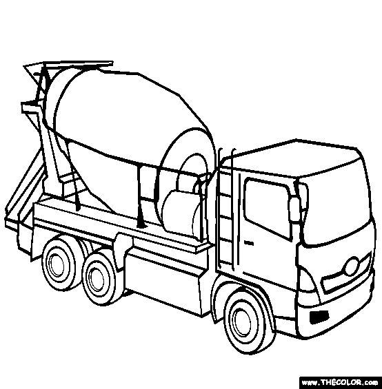 Cement Mixer Coloring Page | Free Cement Mixer Online Coloring