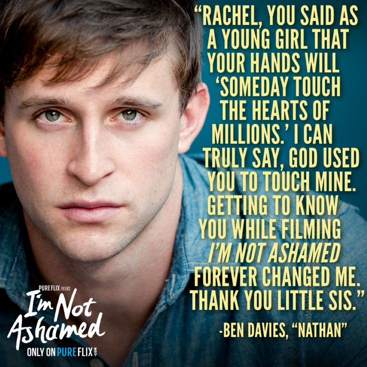 """What a sweet note from Ben Davies, who played Rachel Joy Scott's best friend in """"I'm Not Ashamed"""" now streaming ONLY on Pure Flix:"""