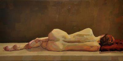 Rodgerson,Jenny Resting model Oil on linen Image Size: 76 x 152.5cm