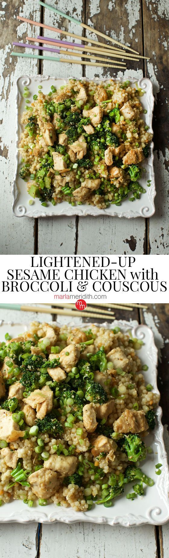 Lightened-Up Sesame Chicken with Broccoli & Couscous recipe. A GREAT weeknight meal for the family! http://MarlaMeriditih.com ( /marlameridith/ )