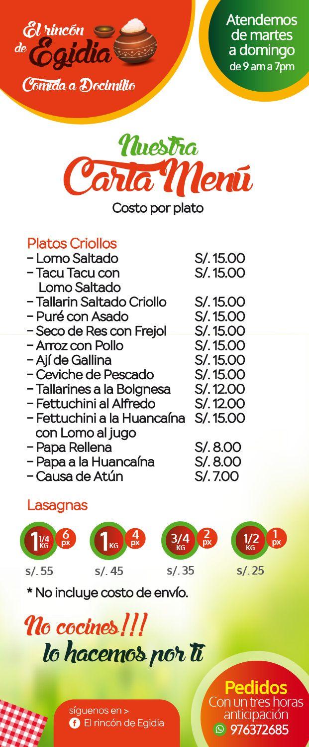 Nuestra Carta Menú, donde podras encontrar los mas deliciosos platos de la #Comida #Criolla Peruana, #Pastas, #Ceviches, #TacuTacu y #Lasagnas. Pedidos al 976372685. No cocines!!! Lo hacemos por ti...