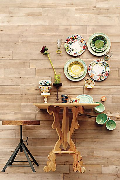 dishes: Dinners Plates, Sissinghurst Castles, Tables Sets, Anthropology, Style, Desserts Plates, Fall Autumn, Wooden Wall, Wooden Tables