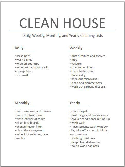 Clean House - Printable List...and tips on how best to use the list on the blog