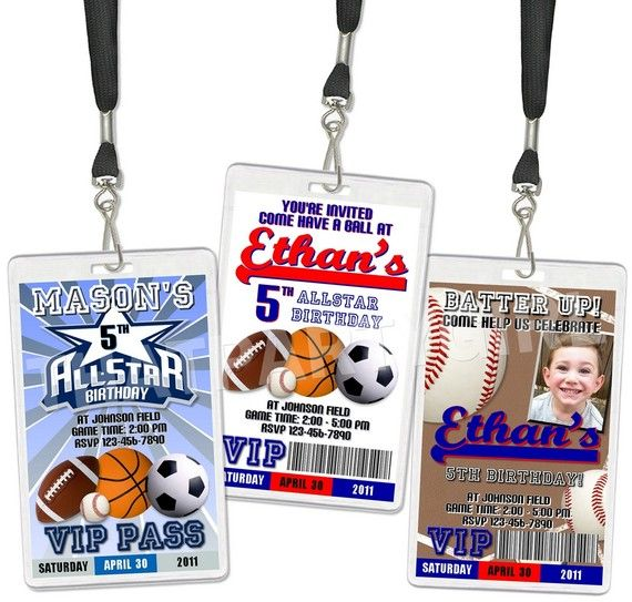 24 Sports VIP Pass Birthday Party Invitations by thatpartygirl, $47.98