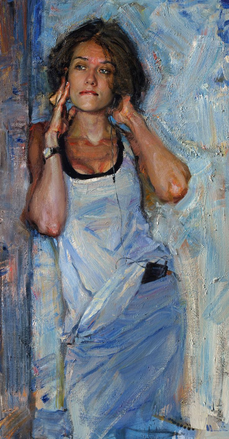 """//""""Music in my head"""" - Evgeniy Monahov, oil on canvas {contemporary figurative artist beautiful female standing woman cropped painting #loveart}"""