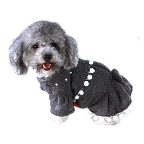 Cor cinza pérola decoração pet camisola do cão saia para a primavera e outono alishoppbrasil