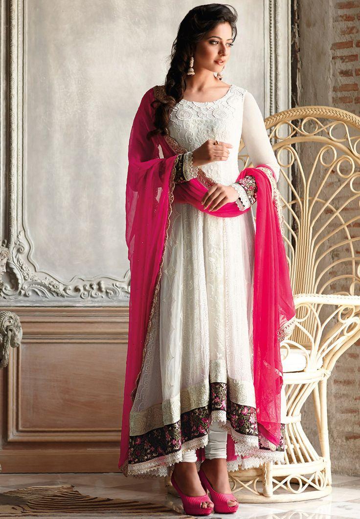 Off White Faux Chiffon Anarkali Churidar Kameez Online Shopping: KWY803