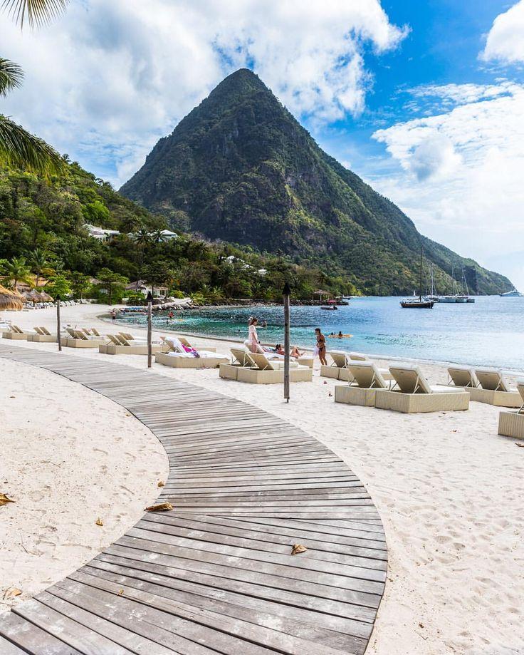 St Lucia's Gros Piton mountain from Sugar Beach