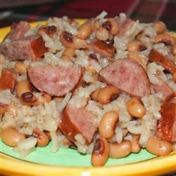Easy Hoppin' John but use brown rise and turkey sausage.  Add celery?