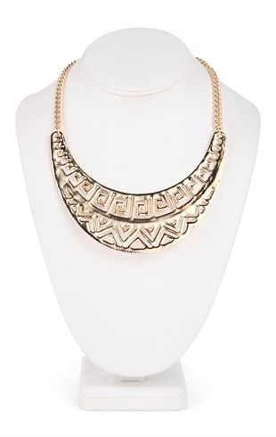 Deb Shops Short Statement Necklace with Tribal Half Moon Pendant $10.00