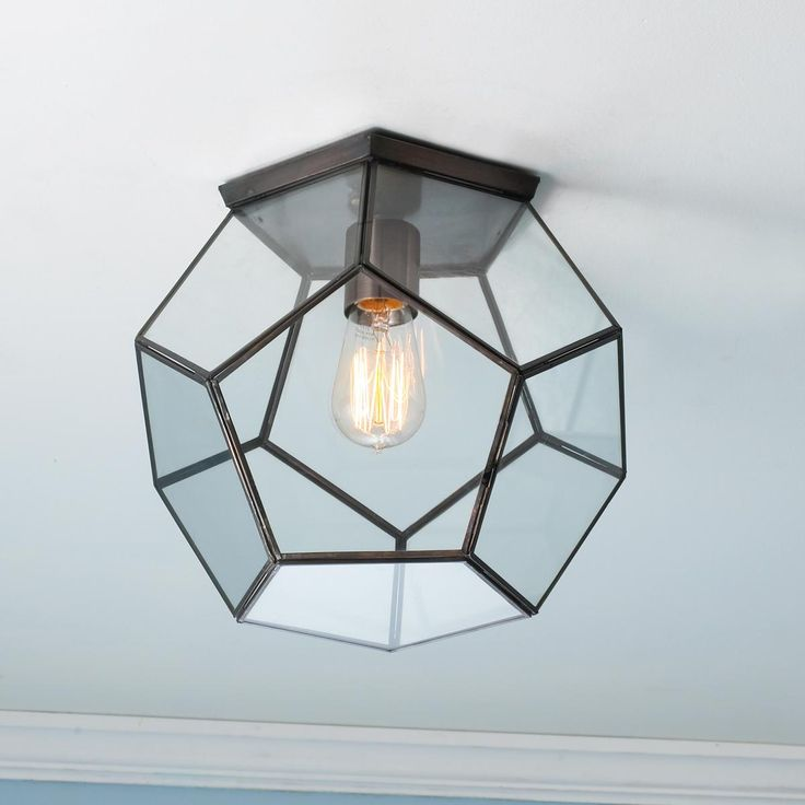 Clear Glass Prism Pentagon Ceiling Light in bathroom or hallway to bathroom?