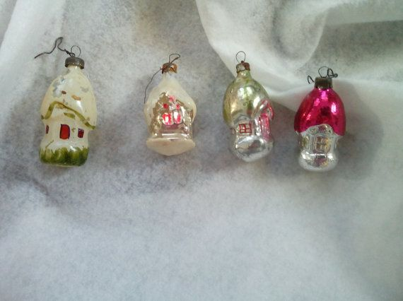 Giocattolo case Natale vetro ornamenti Set di 4 Natale albero decorazioni antico Natale russo Xmas mercurio vetro sovietico degli anni 1970