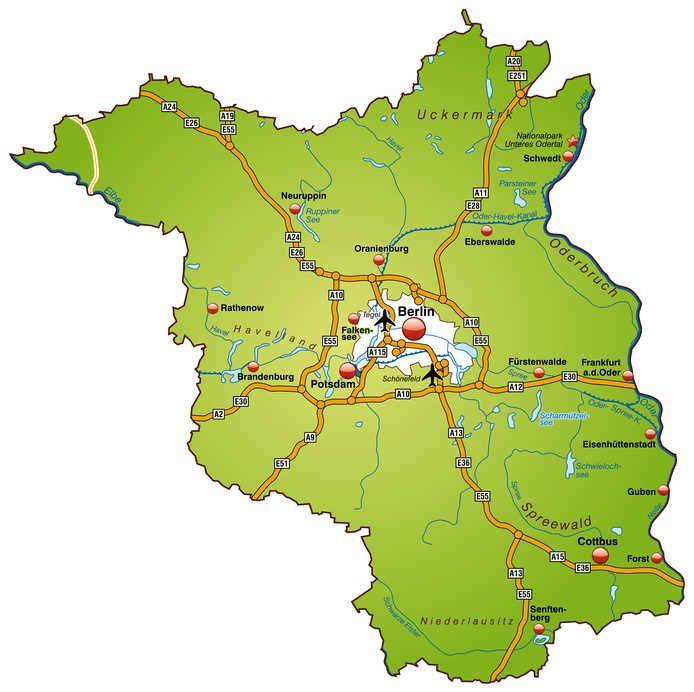 Straßenkarte mit den Autobahnen in Brandenburg