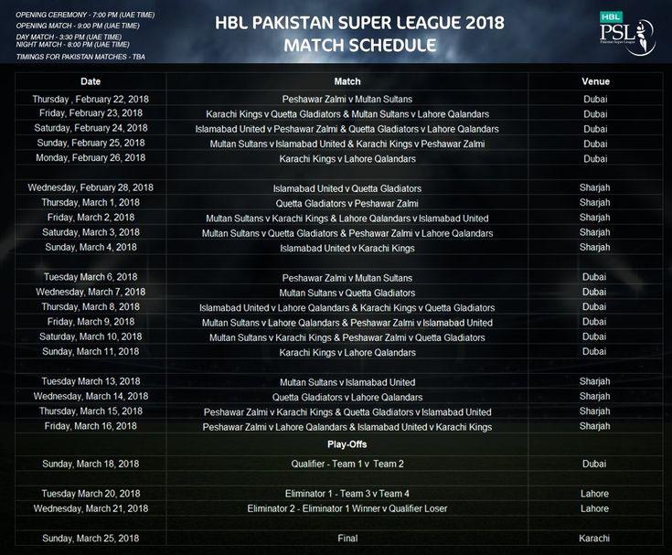 PSL(Pakistan Super League) 2018   The preparation for the third edition of the PSL 2018 (Pakistan Super League) has begun accord...