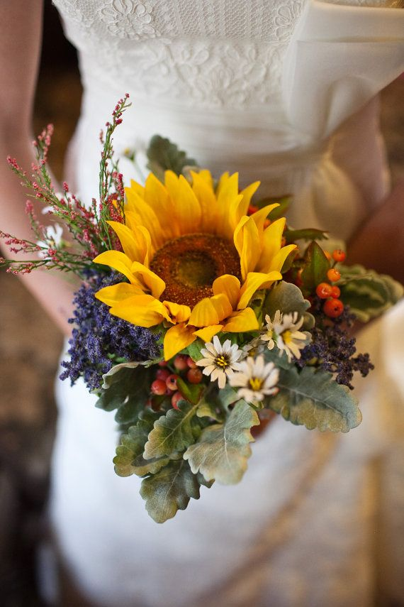 Wildflower Bridal Bouquet by RusticPolkaDots on Etsy, $40.00