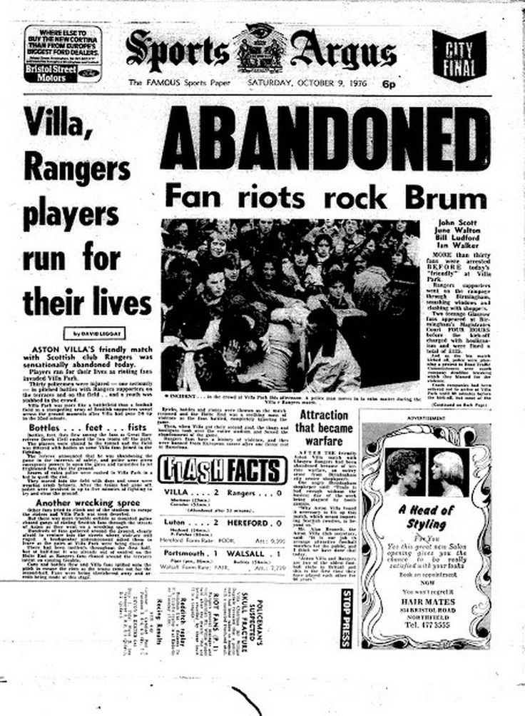 Front page of the Sports Argus on Saturday, October 9, 1976 after the abandonment of Aston Villa v Rangers