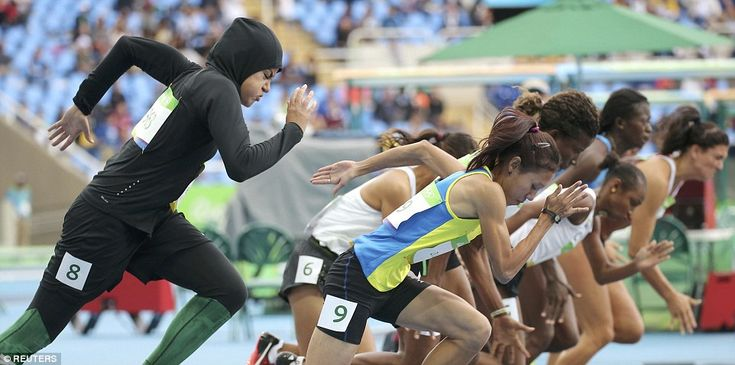 Kariman Abuljadayel, became the first Saudi Arabian woman to compete in the 100m sprint in Rio today, pictured