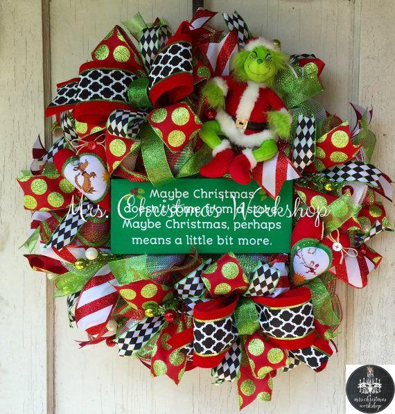 El grinch Navidad deco malla guirnalda por MrsChristmasWorkshop