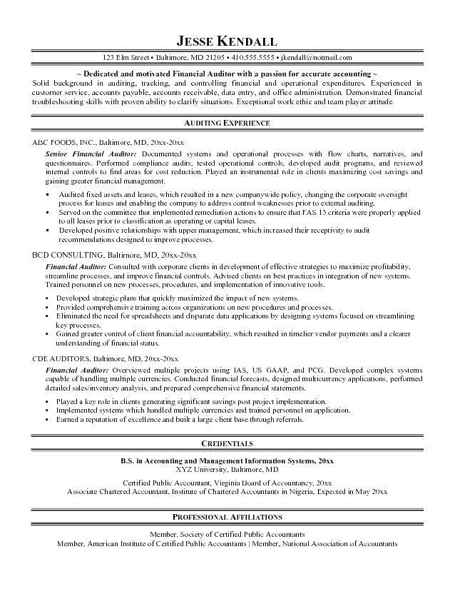 Auditor resume sample objective sample resume career development specialist
