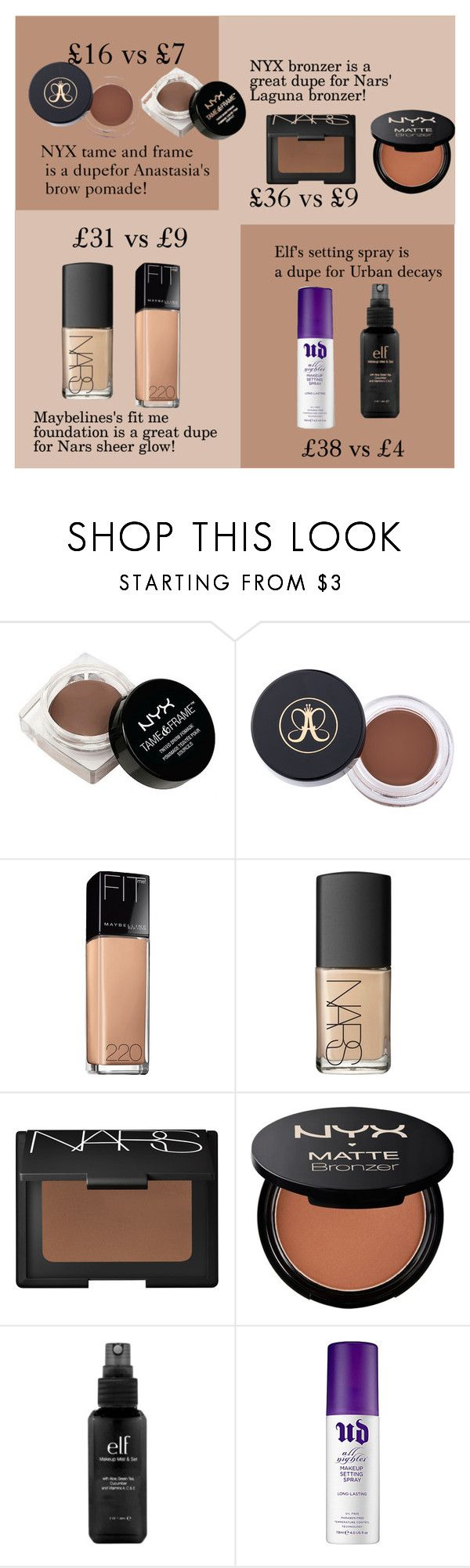 """Makeup dupes!"" by olidys ❤ liked on Polyvore featuring beauty, NYX, Maybelline, NARS Cosmetics, e.l.f., Urban Decay and beautydupes"