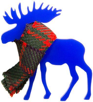 Moose Brooch in a Tartan scarf in Blue. http://www.kivimeri.com/moose-brooch-in-a-tartan-scarf-in-blue/