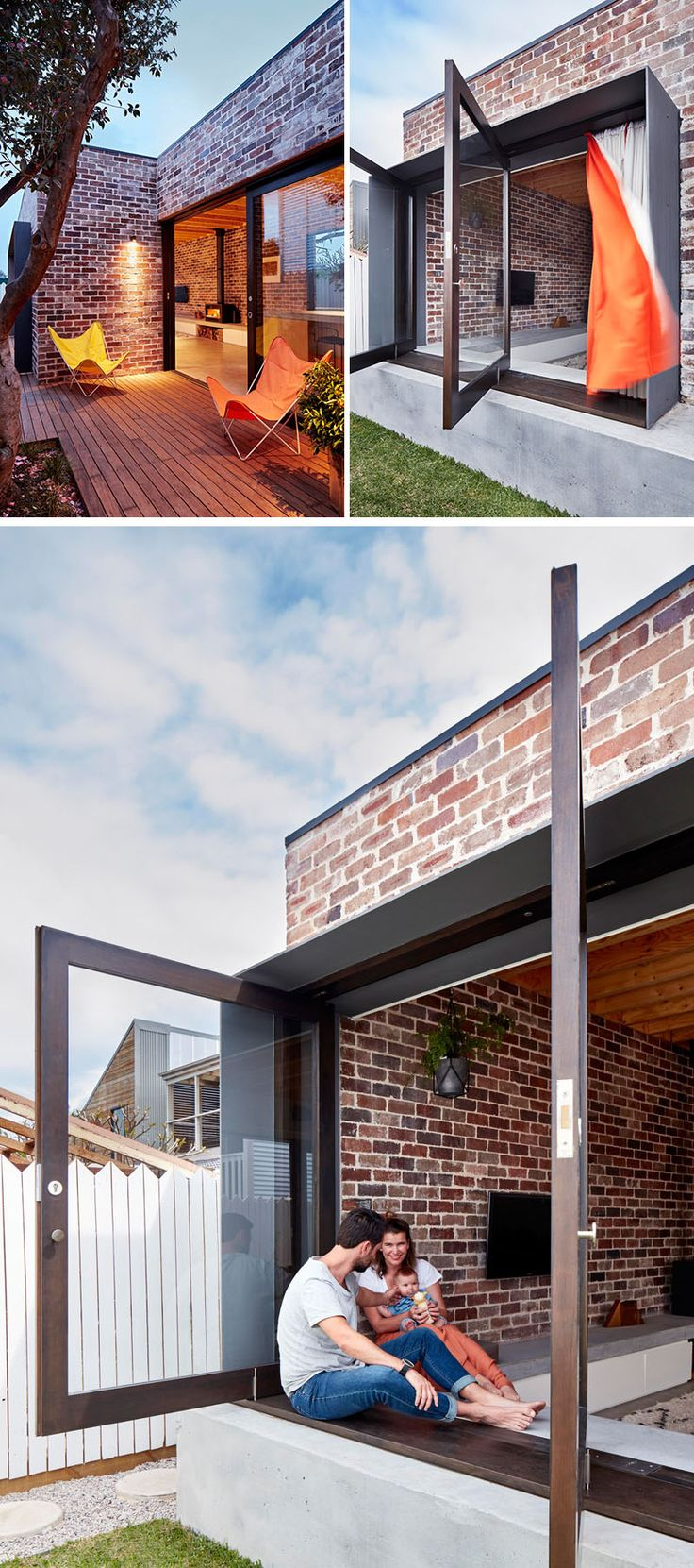 14 Modern Houses Made Of Brick | This small family home is covered with bricks that contrast the modern features of the house, like the large pivoting windows.