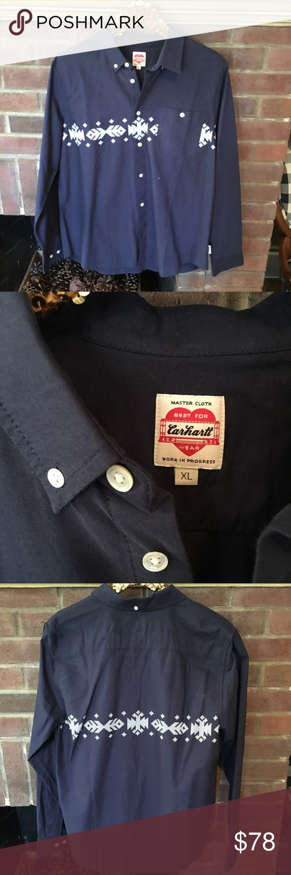 Carhartt Work In Progress WIP Button Down Shirt Cowboy style printed button down shirt by carhartt work in progress. Purchased online so no tags but never worn. Stitch design is screen printed on, sort of a western or southwest/ Aztec style design. Navy blue with white design. Rare hard to find style. I couldn't even find a stock photo from the carhartt work in progress site Carhartt Shirts Casual Button Down Shirts