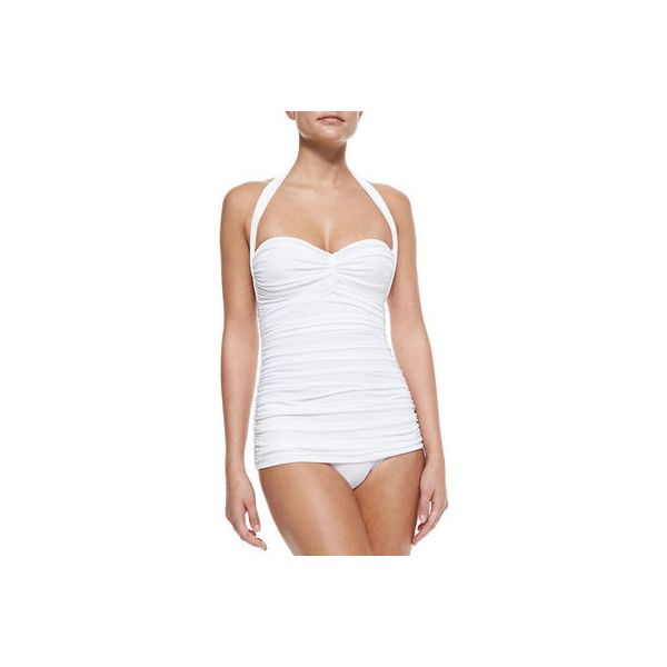 Norma Kamali Bill Ruched One-Piece Swimsuit ($350) ❤ liked on Polyvore featuring swimwear, one-piece swimsuits, white, halter one piece bathing suit, ruched one piece swimsuit, white one piece swimsuit and one piece bathing suits
