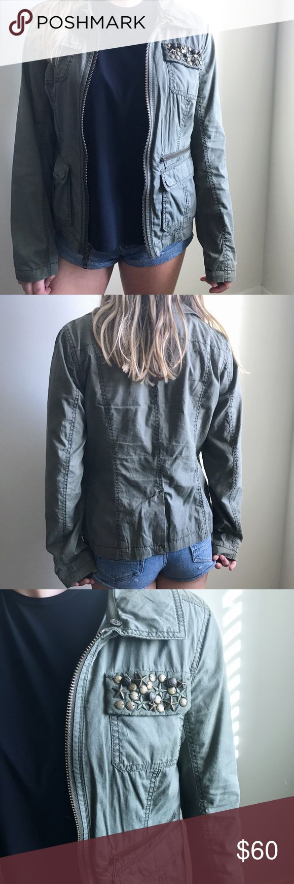 Army Green Jacket Express Army jacket with studs and gold zipper. Size small. The color is true army green Express Jackets & Coats Jean Jackets