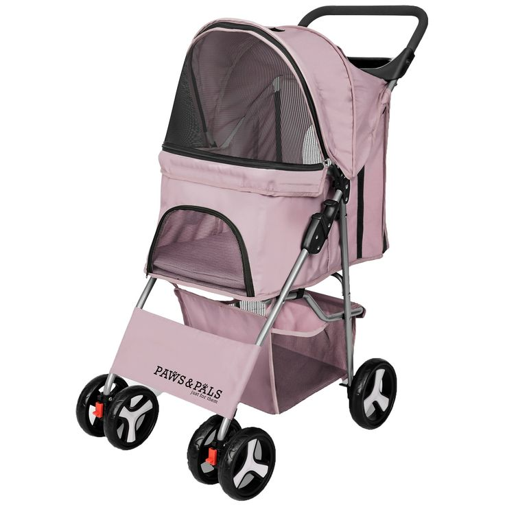 Paws pals folding dog cat stroller pink in 2020 pet