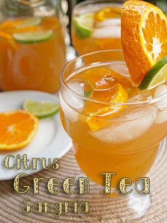 Spring Has Sprung So Break Out the (Citrus Green Tea) Sangria - Lizz Delicious - Green tea, tangerines, limes, triple sec, and white wine.