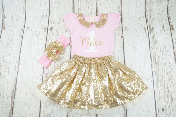 pink and gold birthday outfit first birthday by PoshPeanutKids