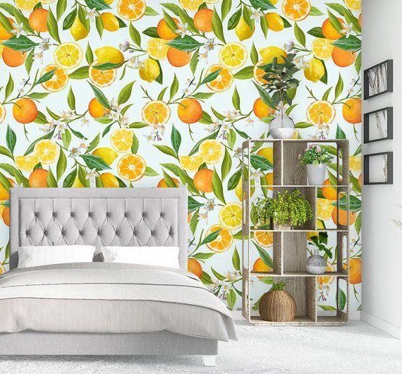 Lemon Wallpaper Watercolor Fruit Wall Mural Self Adhesive Removable Wallpaper Floral Wallpaper Non Woven Wallpaper Wp35 Watercolor Fruit Floral Wallpaper Wallpaper