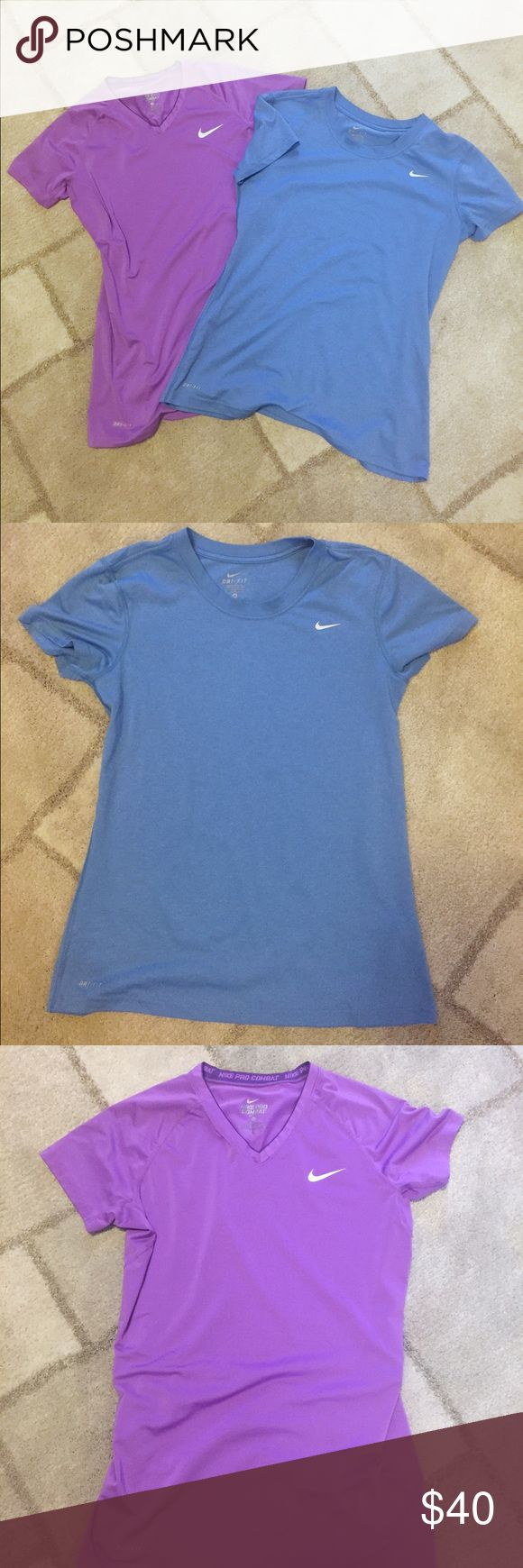 Bundle Nike Pro T-Shirts Bundle of 2 mint condition Nike pro t shirts. Blue and purple both sized Medium. Both are Dri-Fit. Purple shirt is a Nike Pro Combat V Neck and Blue shirt is Crew neck. Nike Tops Tees - Short Sleeve