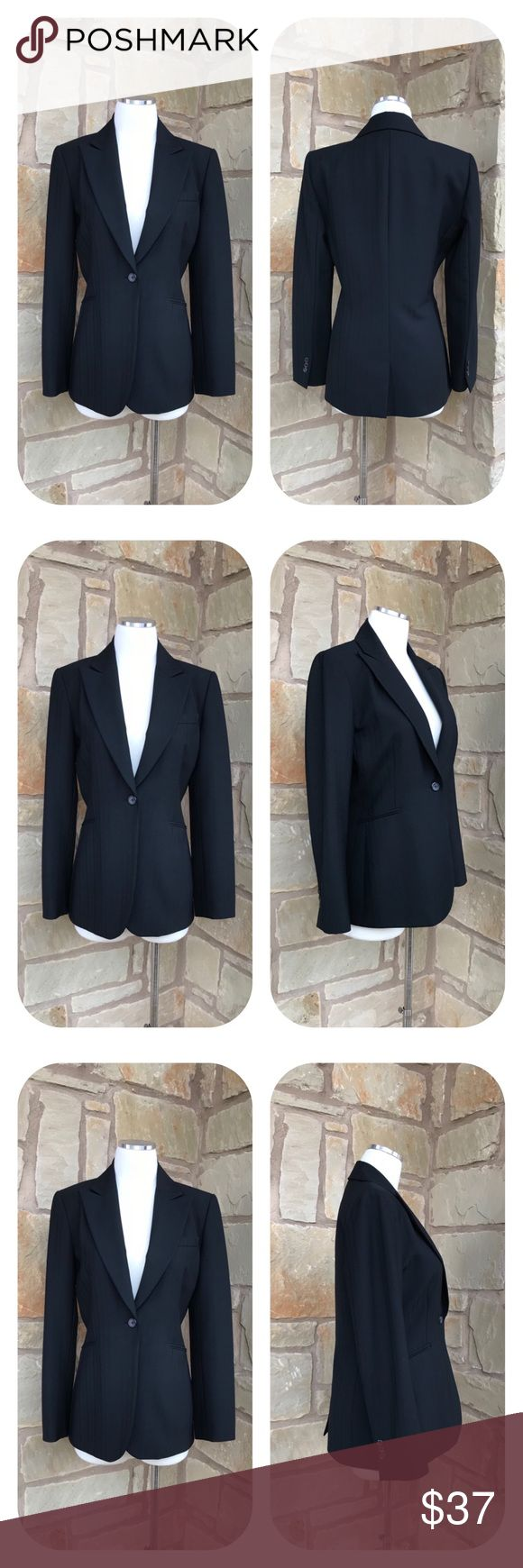 """Tahari Classic Black One Button Wool Blazer Size 6 Tahari Classic Black One Button Blazer  Size 6  -  One Button Closure  -  Three Mock Pockets  -  Fully Lined -  Textured Stripes -  98% Wool 2% Elastane  -  Size 6     Underarm to underarm 18.5""""     Underarm to end of sleeve 17""""     Shoulder to hem 27""""  Thanks for visiting! 🔥🔥🔥 Tahari Jackets & Coats Blazers"""
