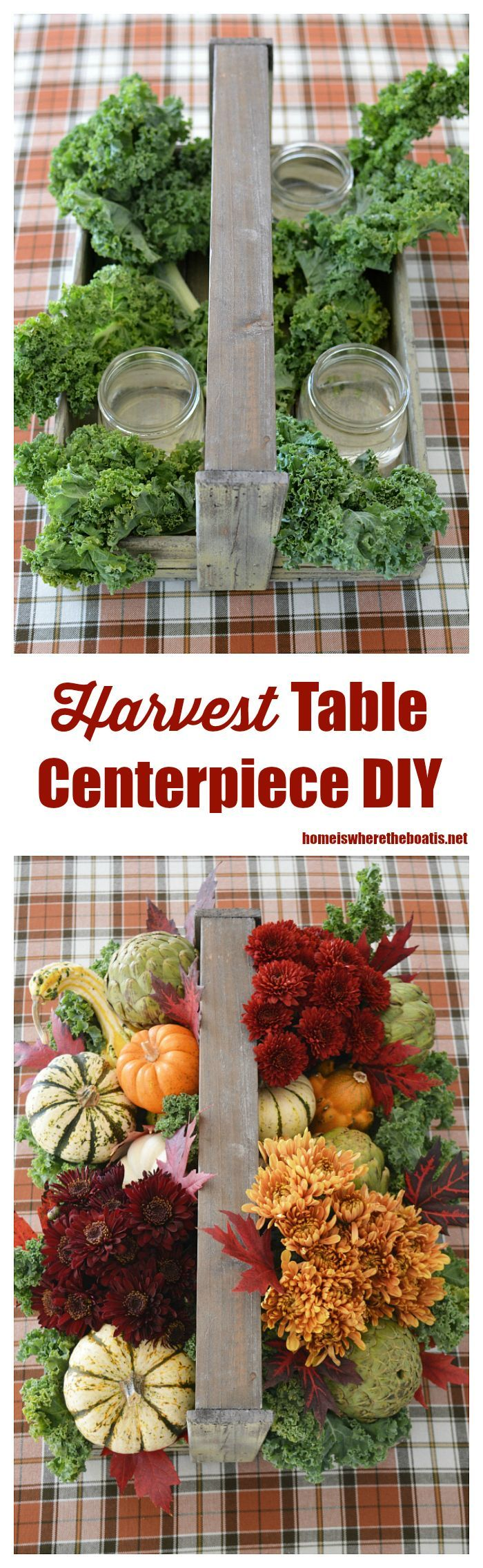 DIY Rustic harvest table centerpiece with veggies, pumpkins and flowers for fall or Thanksgiving | homeiswheretheboatis.net