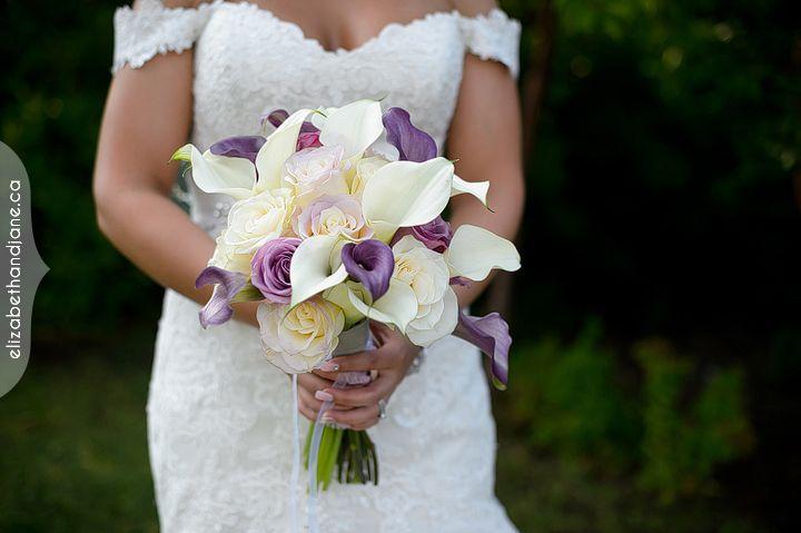 Bride's bouquet in white and mauve calla lilies, so very beautiful.  #ottawawedding #ottawaweddingdecorator #ottawadecor #ottawaflowers #bouquets #613 #weddingdecor #weddingbellesdecor #elegantwedding #weddingideas #weddinginspiration #brookstreet #callas #callalilies #lilies #lavenderwedding