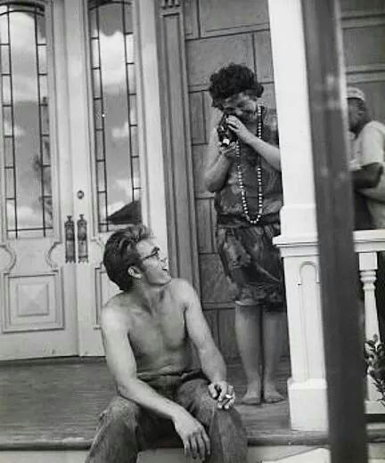 Jane Withers and James Dean on the set