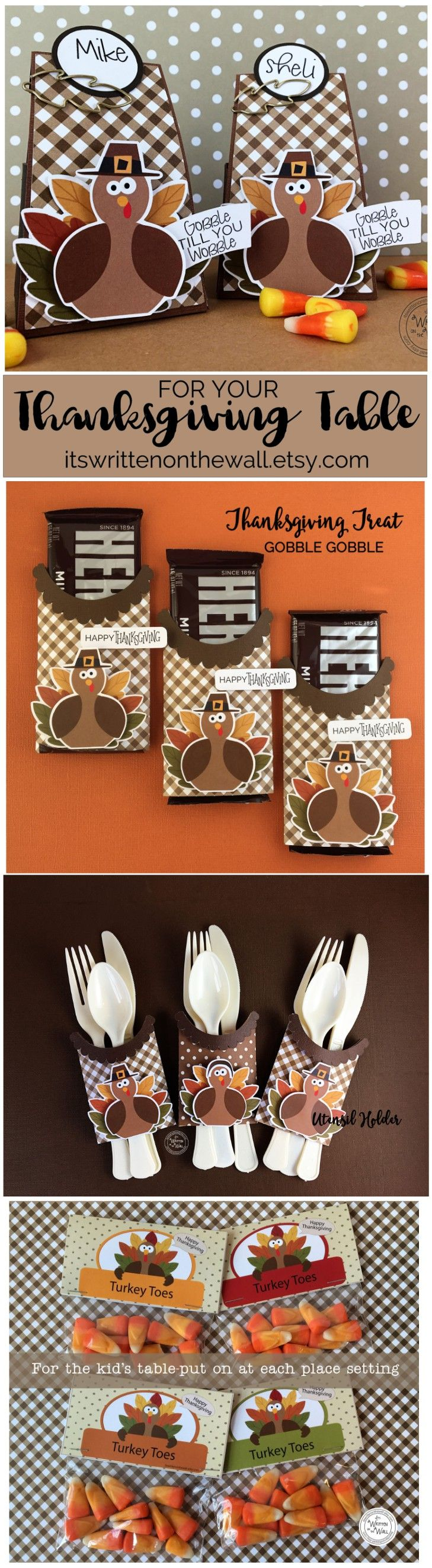 Dress up the kids and adult Thanksgiving table. Candy bar wraps, utensil holders, personalized place card/treat boxes and Turkey Toes