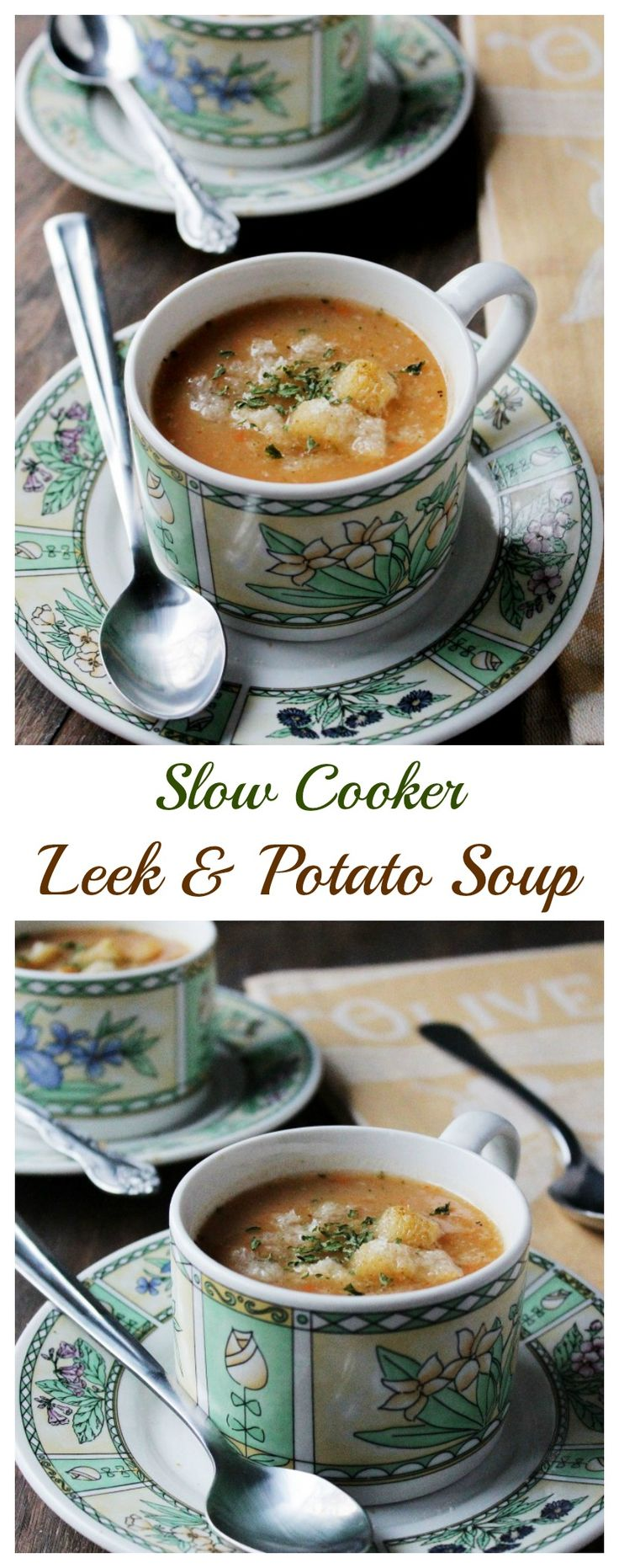 {France} Slow Cooker Leek and Potato Soup | www.diethood.com | #crockpot #dinner