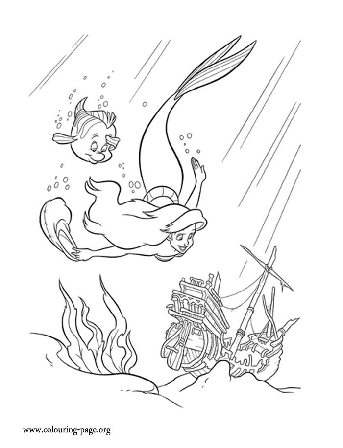 Ariel Flounder Coloring Pages : Looks like that flounder and ariel are always ready to