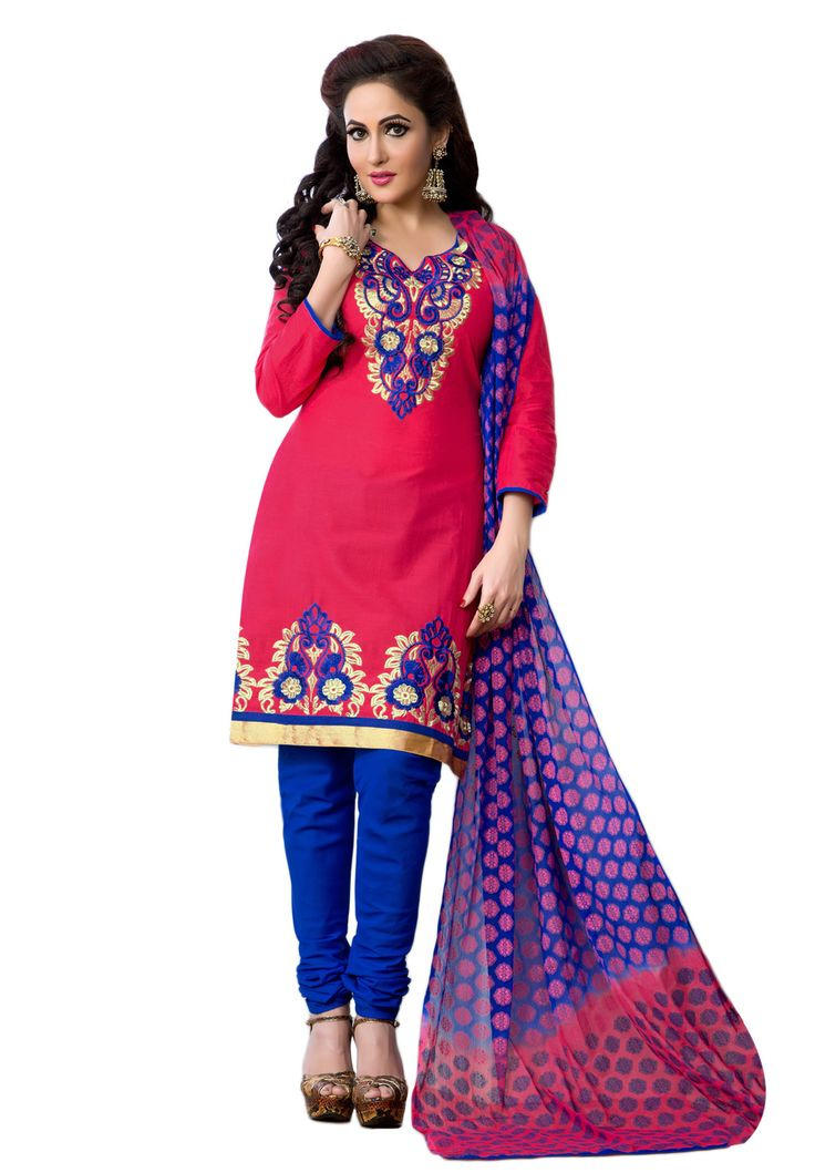 #Deep Pink #Blue #Dresmaterail #Casualwear #Officewear #Occasionalwear buy at salwarstudio.com
