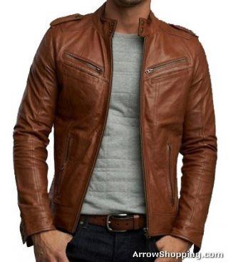 Arrow Handmade Men brown biker leather Jacket