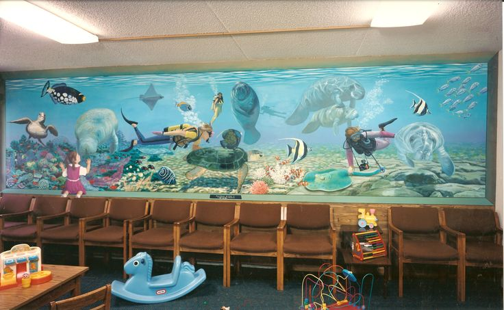 Kids dr offices waiting room of pediatric dental for Aquarium mural gifi