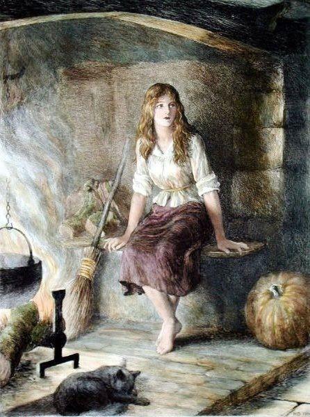 Herbert Thomas Dicksee (1862–1942) - Cinderella, 1906 - Hand coloured etching