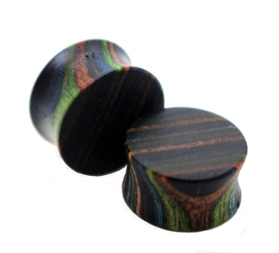 The JungleStriped Maple Wood Plugs by WoodGauges on Etsy, $30.00