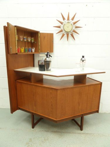 Vintage 50s 60s Turnidge Teak Cocktail Bar Cabinet