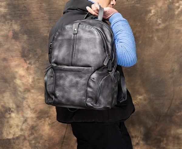 Handmade Full Grain Genuine Leather Backpack Men Backpack Travel Backpack F17