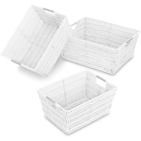 Whitmor White Rattique Storage Basket Set ($30) ❤ liked on Polyvore featuring home, home decor, small item storage, white home decor, white tote, woven tote, white storage baskets and white home accessories
